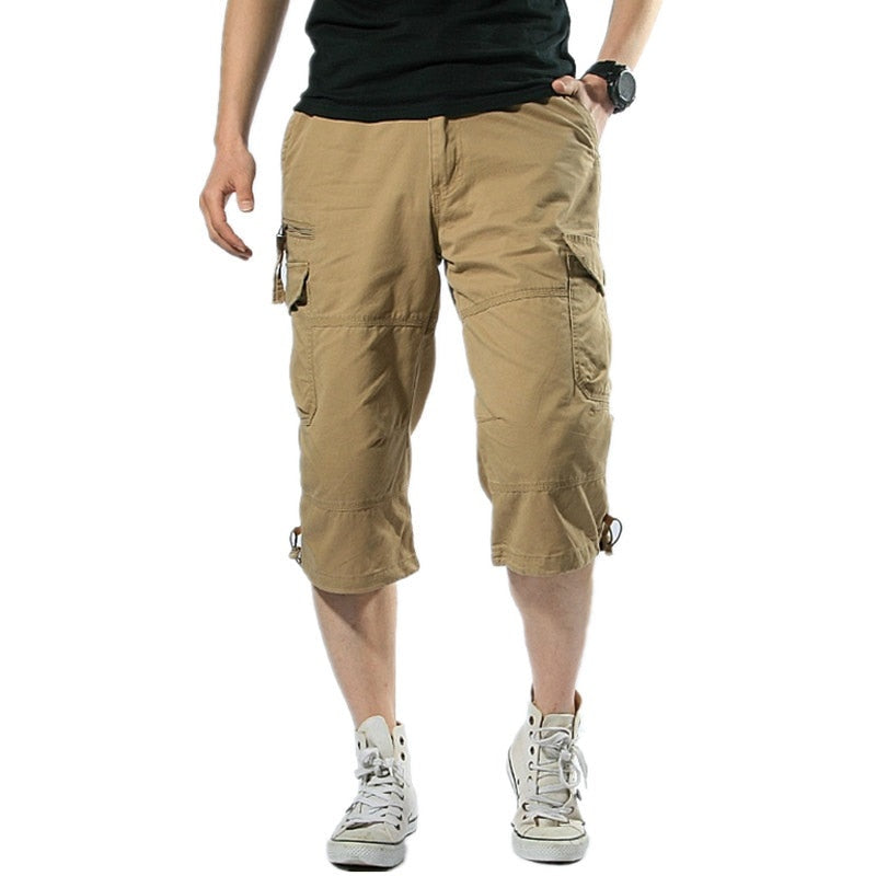 handmade-global-crafts - Male Shorts Multi Pocket Summer Loose Zipper Breeches Khaki Grey Plus Size Short Pant Casual Cotton Black Long Mens Cargo Shorts