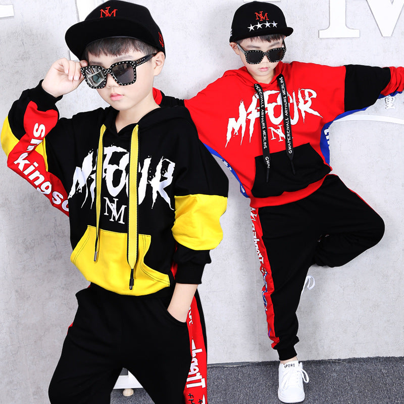 handmade-global-crafts - Baby Boy Clothes Set Hip Hop Dance Costumes Kids Hooded Hoodies + Sport Pants Two Piece Set Jazz Stagewear Party Sport Suit 2Pcs