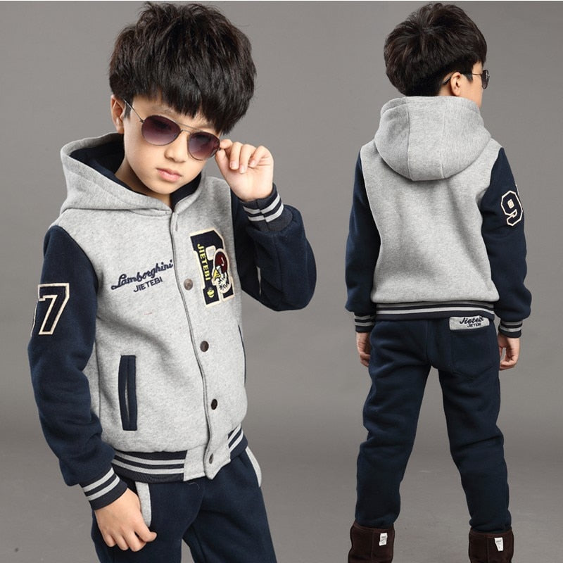 handmade-global-crafts - Foreign Trade 2018 Fall Winter Boys Baseball Uniform 2 Pcs Set Children Thickening Sweater Suit Kids Spliced Sports Clothes X292