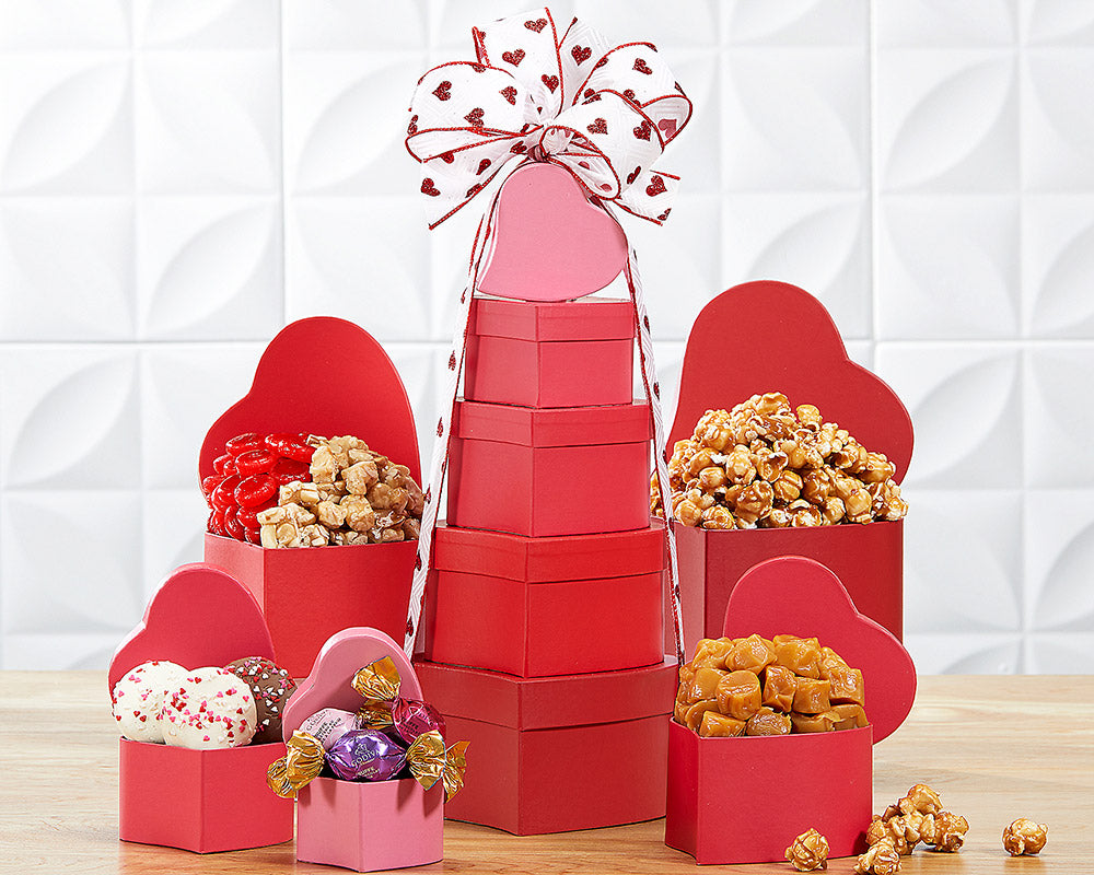 handmade-global-crafts - Tower of Hearts Gift Basket By Wine Country Gift Baskets