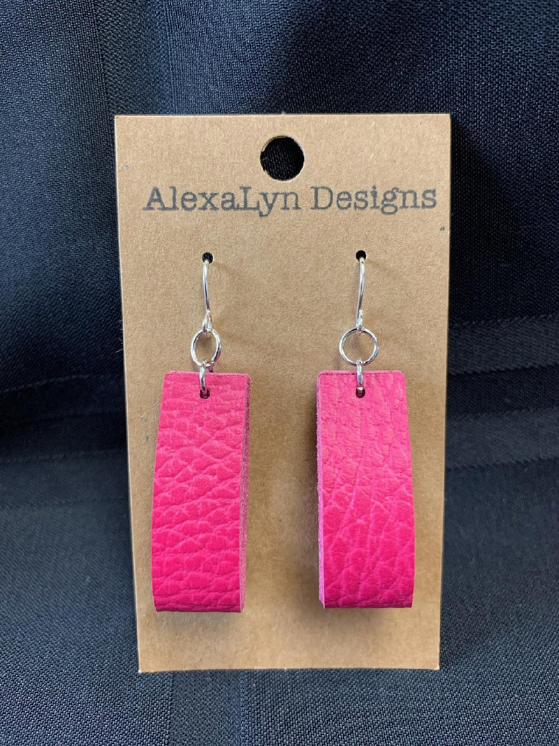 Magenta Rectangle Hoop Leather Earring