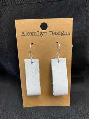 White Rectangle Hoop Leather Earring