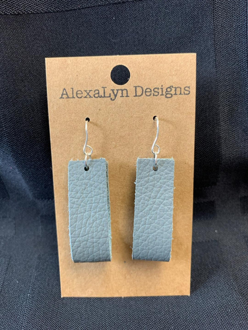 Gray Rectangle Hoop Leather Earring