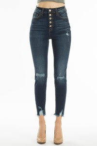 Dark Wash 5-Button High Waisted KanCan Cropped Jeans