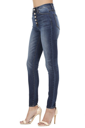 High Waisted 5 Button Skinny Jean