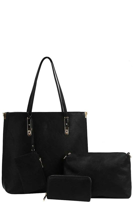 """The Emilie"" Black Four in One Tote Purse"