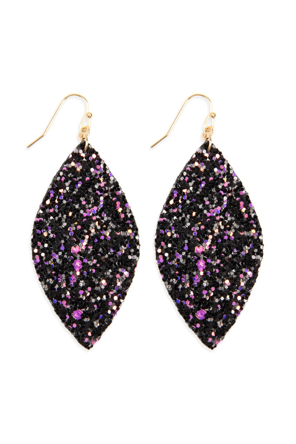 Black Multi-Color Sequin Marquise Earrings