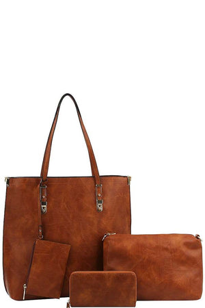 """The Emilie"" Cognac Four in One Tote Purse"