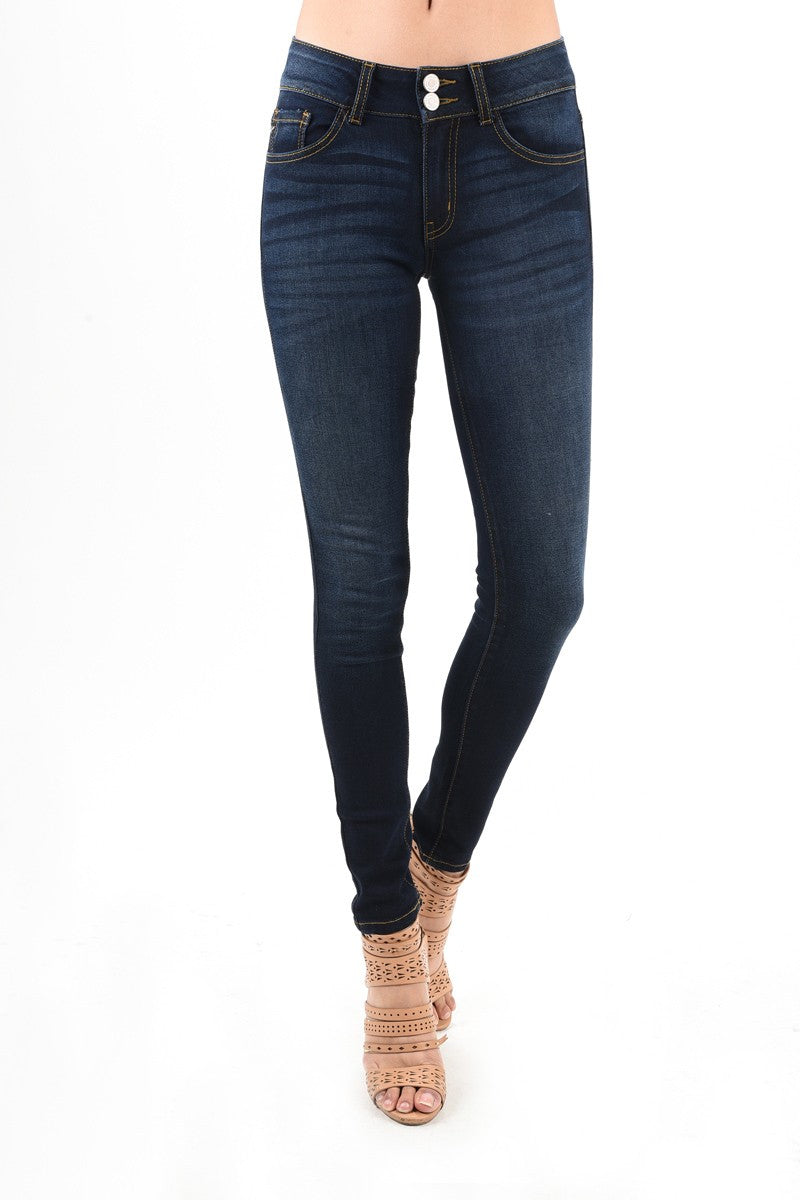 Two Button High rise Dark Wash Skinny Jean