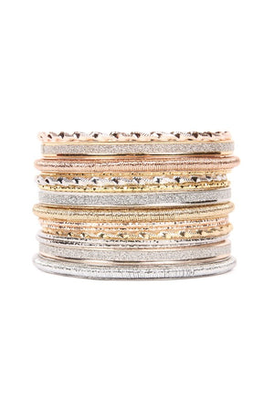 Mixed Gold and Silver Embellished Ring Bangle Set