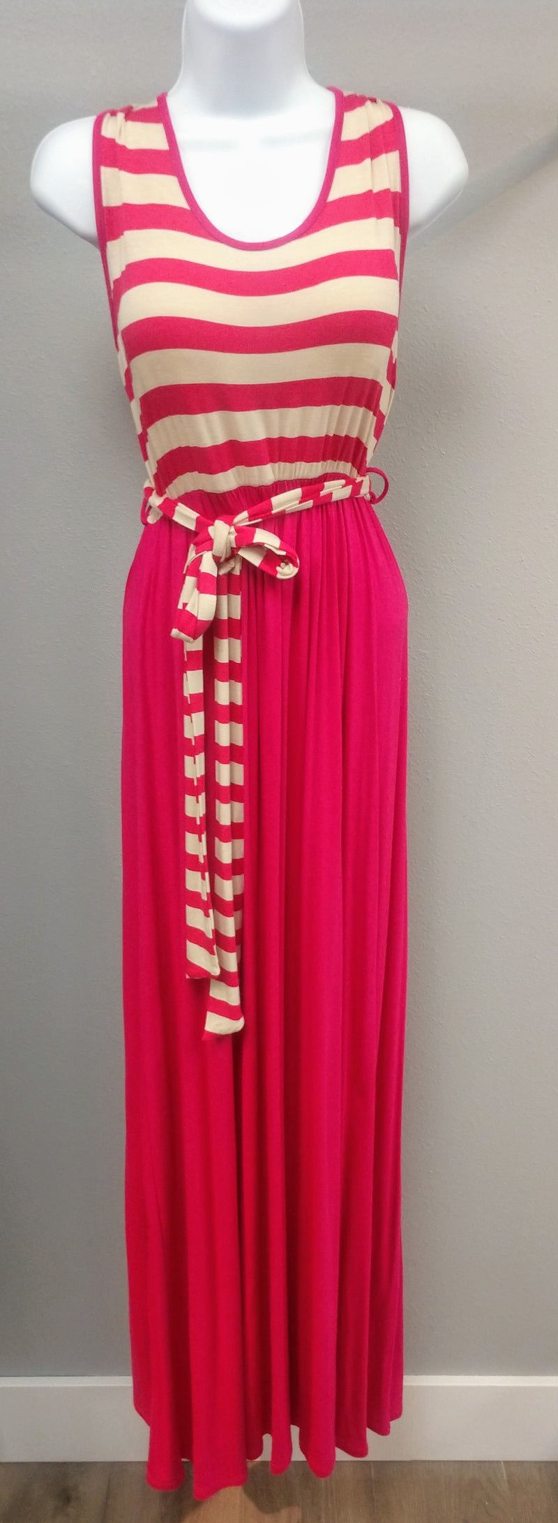 Pink Maxi Dress with Striped Belt