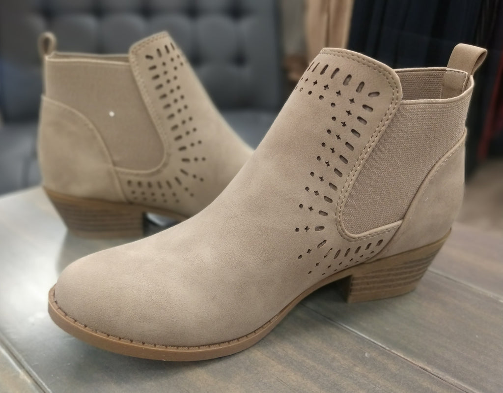 Khaki Cut Out Detail Ankle Boots