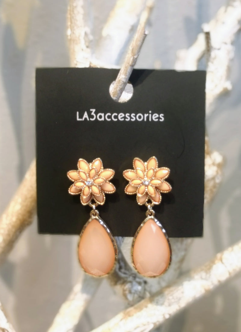 Coral and Gold Flower and Stone Earring