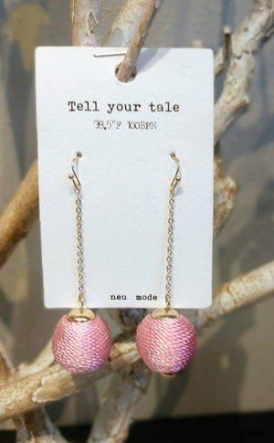 Yarn Wrapped Tassel Earring