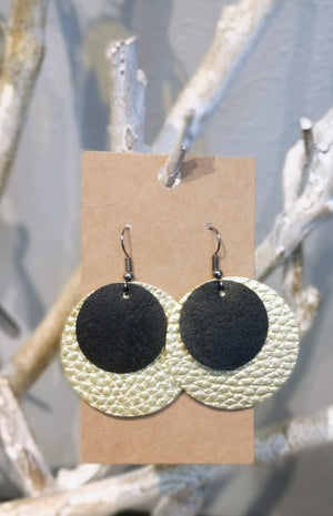 Gold and Black Layered Earrings