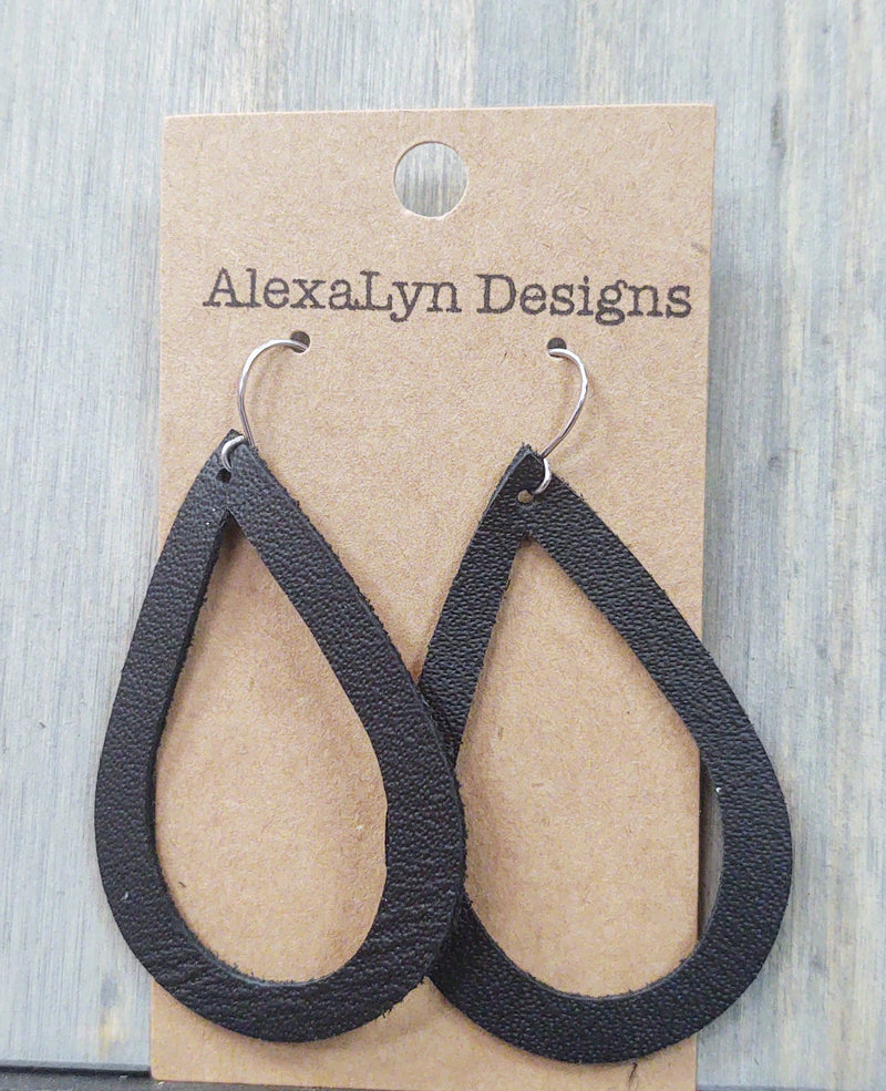 Black Leather Tear Drop Cutout Earrings