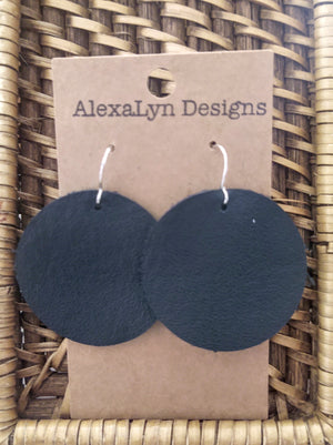 Black Leather Circle Earrings