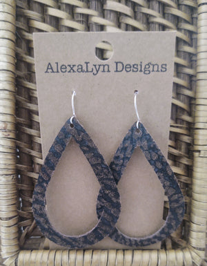 Dark Brown Distressed Leather Tear Drop Cut Out Earrings