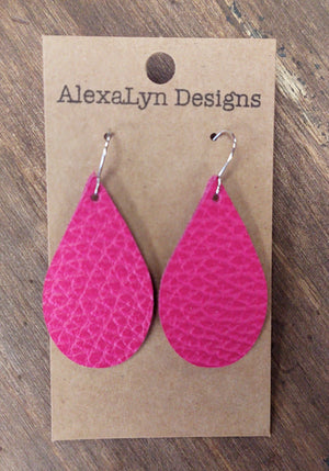 Magenta Tear Drop Leather Earrings