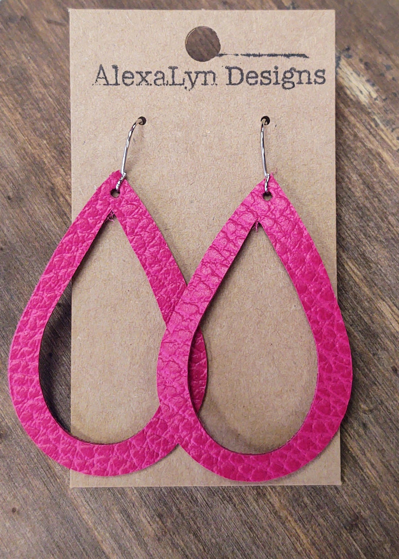 Magenta Tear Drop Cut Out Leather Earring