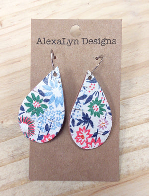 Spring Floral Tear Drop Leather Earring