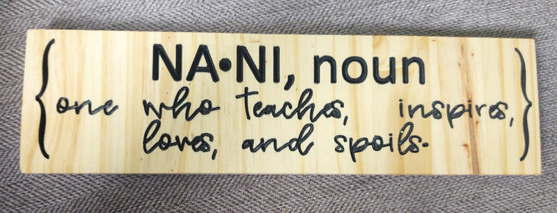 Nani Solid Wood Sign