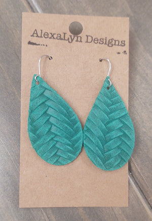 Emerald Woven Pattern Leather Earrings