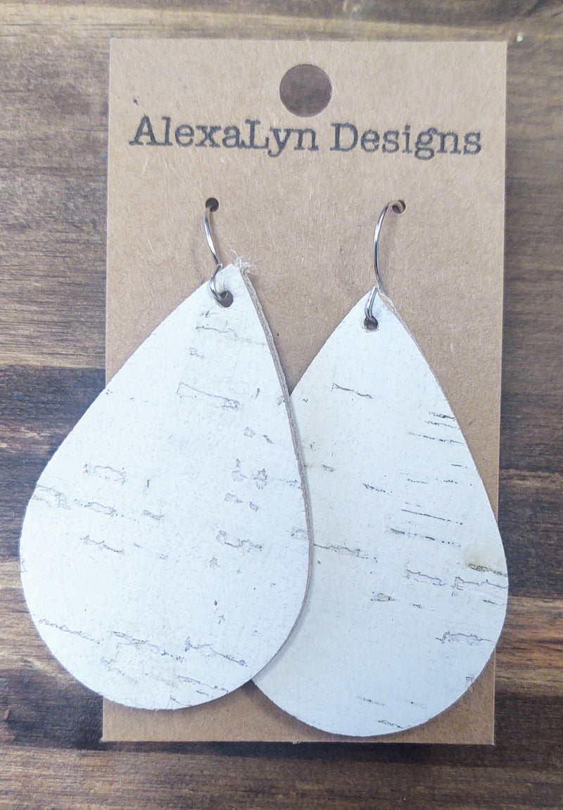 White Cork Tear Drop Leather Earring
