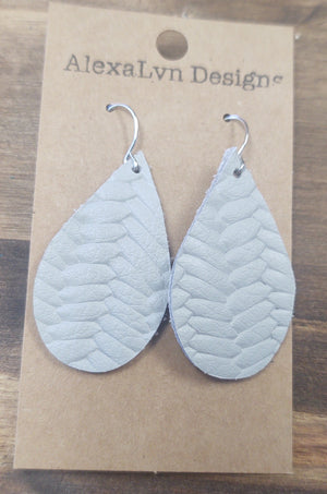 Gray Woven Texture Leather Earring