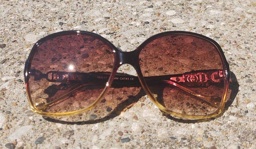 Brown Ombre 70's Glam Rounded Square Sunglasses