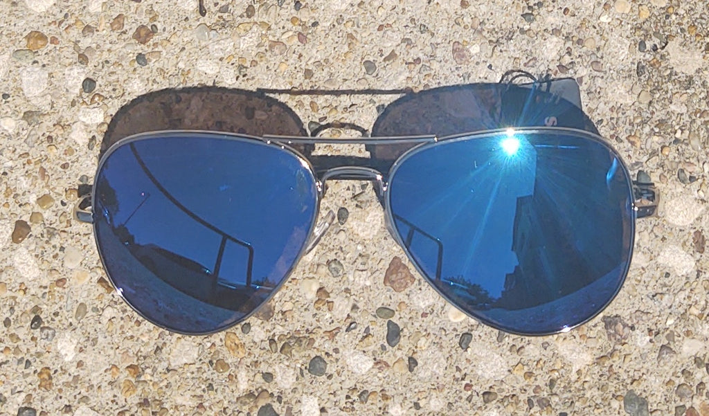 Blue Lens Mirrored Aviator Sunglasses