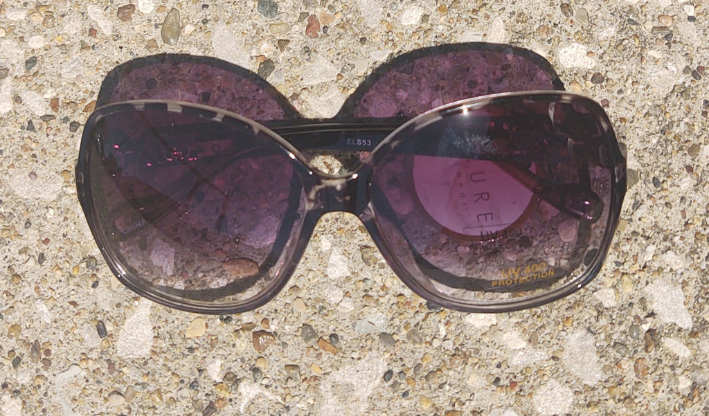 Gray Turtle Shell 70's Glam Rounded Square Sunglasses