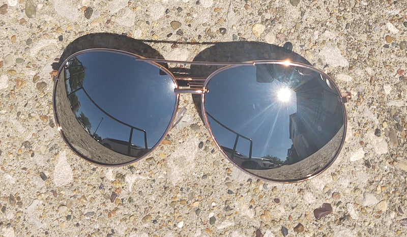 Rose Gold Mirrored Mirrored Aviator Sunglasses