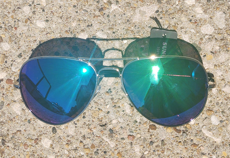Blue/Green Lens Mirrored Aviator Sunglasses
