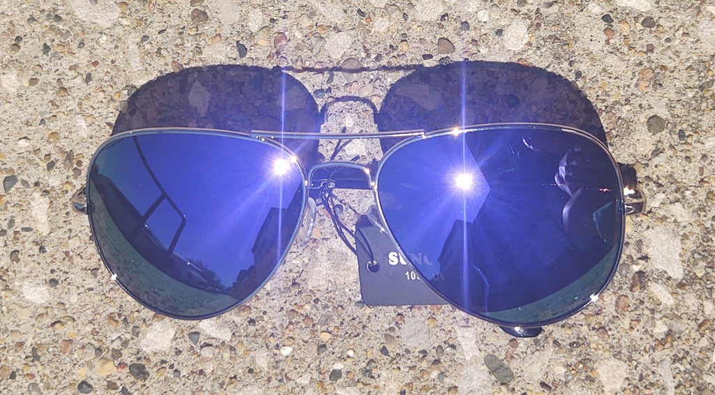 Purple Lens Mirrored Aviator Sunglasses