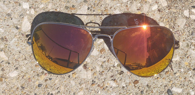 Red/Orange Mirrored Aviator Sunglasses