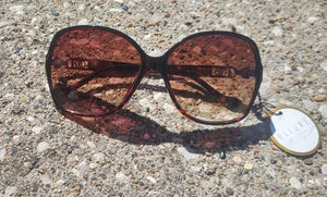 Brown Turtle Shell 70's Glam Rounded Square Sunglasses