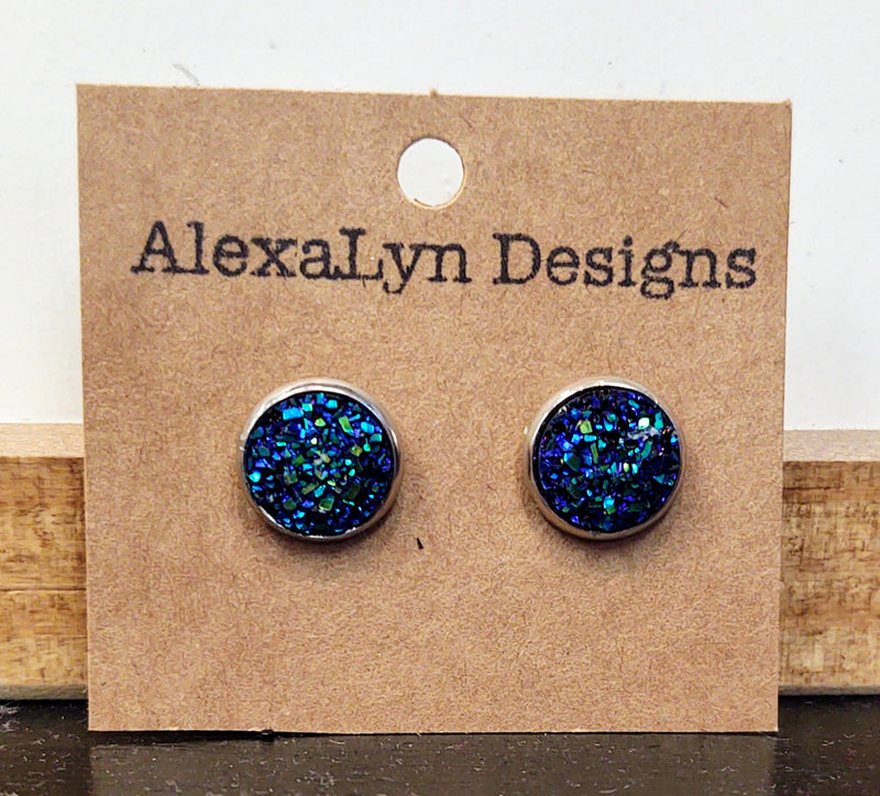 Blue Iridescent Stud Earrings