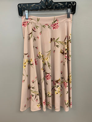 Dusty Blush Floral A-Line Skirt