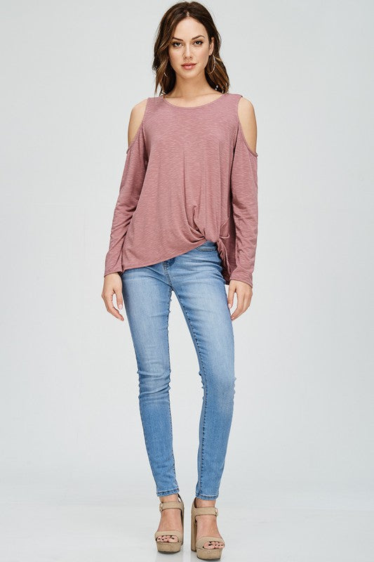 Mauve Cold Shoulder Twist Hem Top