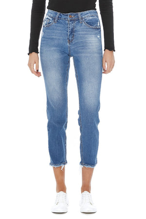 Judy Blue Medium Wash Capri with Raw Hem