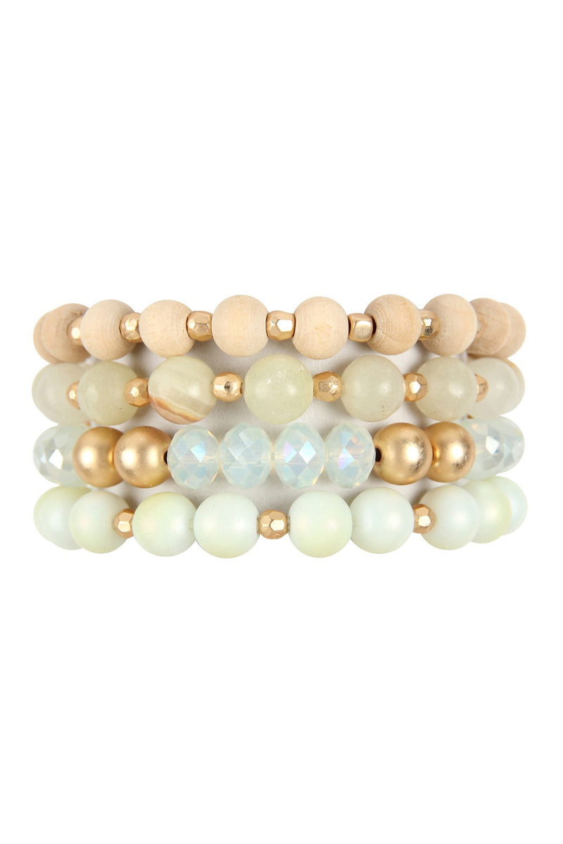 Natural Tone 4 Strand Beaded Bangle Bracelet