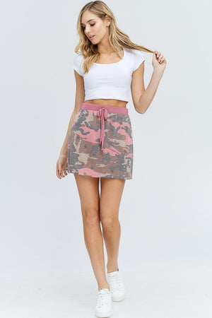 Mauve Camo Cinch Waist Skirt