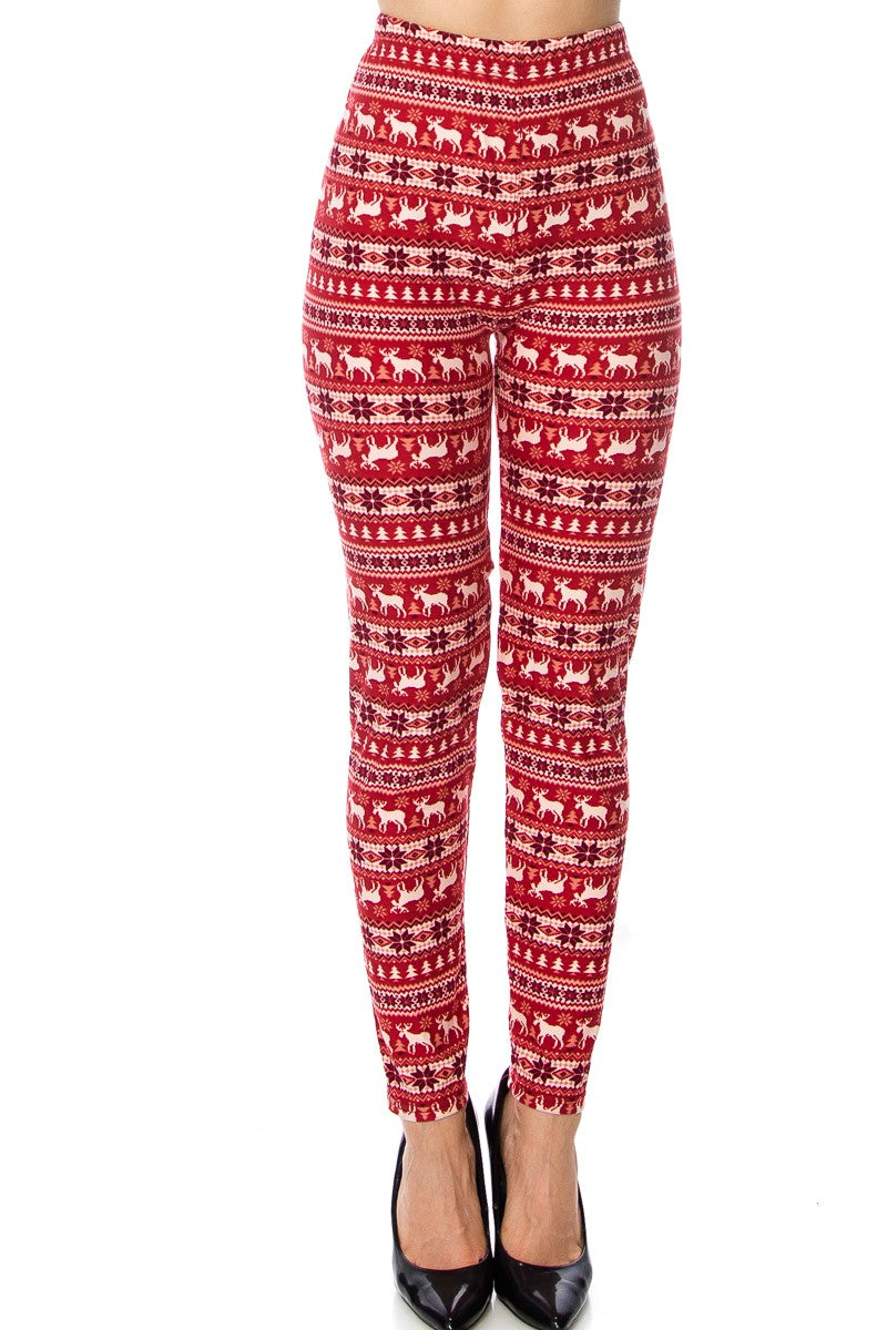 Red Reindeer & Snowflake Pattern Leggings Curvy(Fits sizes 10-18)
