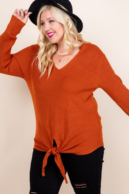 Rust Tie Front Knit Sweater (Curvy)