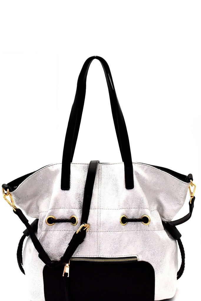 Silver Metallic Cinch Hobo Purse