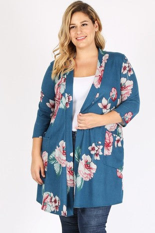 Teal with Floral Print Cardigan (Curvy)