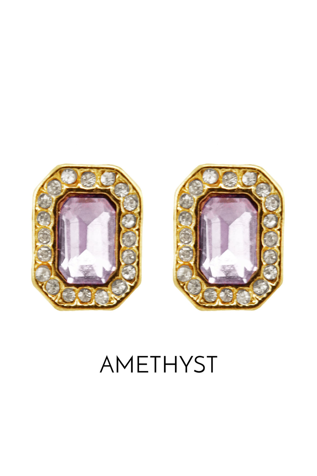 Gold and Amethyst Gem Stud Earring