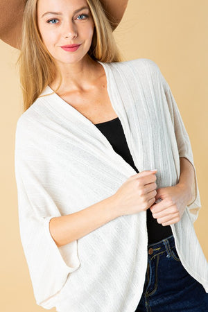 Ivory Butterfly Sleeve Shrug Cardigan (Curvy)