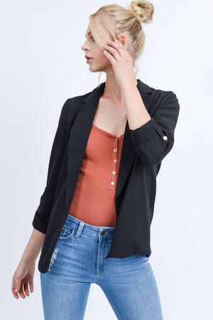 Open Front Roll-Up Sleeve Blazer